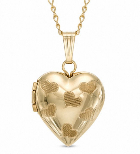 14kt Gold Filled Scattered Heart Locket - MT0008N