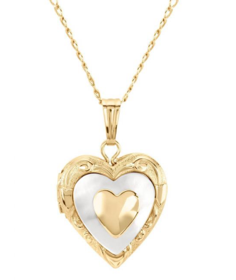 14kt Gold Filled Mother of Pearl Heart Locket - MT0010N